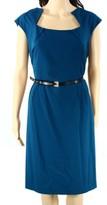 Calvin Klein Blue Teal Cap-Sleeve Women's 14 Belted Sheath Dress