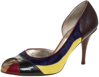 Dolce & Gabbana Multicolor Pony Hair And Leather Peep Toe Pumps Size 39