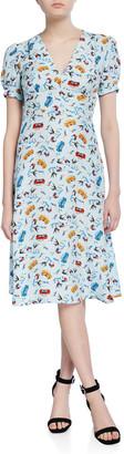 HVN Paula Deep V-Neck Dress