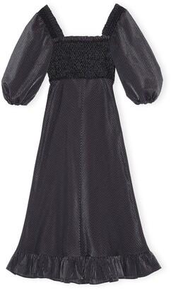 Ganni Seersucker Check Square Neck Dress
