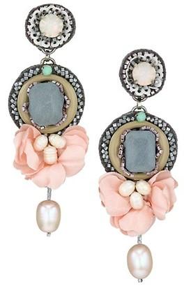 Ranjana Khan 1-2MM Pearl, Silk Petal, Crystal & Glass Bead Drop Earrings