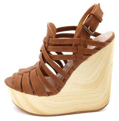 PeepToe Strappy Peep-Toe Wooden Wedge