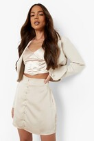 Thumbnail for your product : boohoo Button Front Satin Mini Skirt