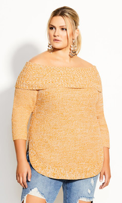City Chic Scoop Me Up Jumper - gold