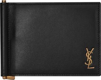 Saint Laurent Leather Monogram Bifold Money Clip Wallet
