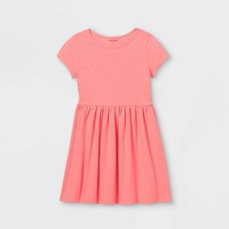 Cat & Jack Girls' Solid Knit Short Sleeve Dress - Cat & JackTM Neon