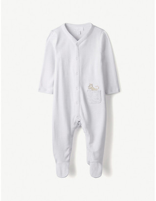 The Little White Company Cheetah embroidered pocket sleepsuit 0-24 months