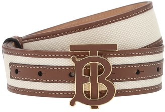 Burberry 35mm Cotton Canvas & Leather Belt