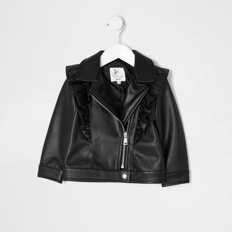 River Island Mini girls Black frill biker jacket