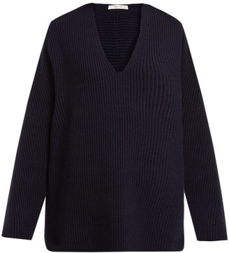 The Row Angela V-neck Wool-blend Sweater - Womens - Navy