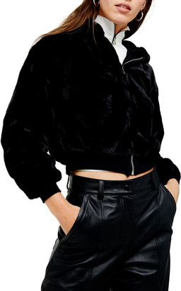 Topshop Faux Fur Hooded Jacket