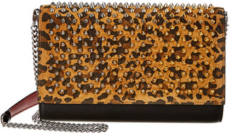 Christian Louboutin Paloma Spike Leather & Suede Clutch