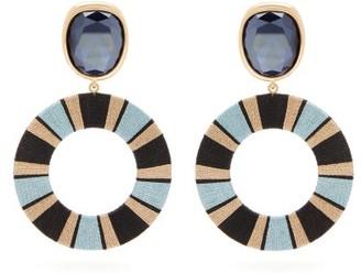 MaryJane Claverol Capri Crystal And Striped Hoop Earrings - Blue Multi