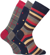 Barbour Navy, Mustard & Crimson Patterned Sock Gift Set