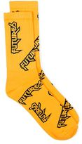 Topman Yellow and Navy Futures Slogan Tube Socks