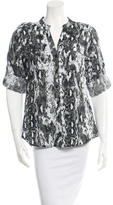 Calvin Klein Collection Printed Button-Up Top w/ Tags