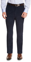 Isaia Corduroy Flat-Front Trousers, Blue