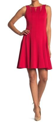 Gabby Skye Sleeveless Mesh Inset Fit & Flare Dress