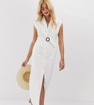 Asos DESIGN Tall denim maxi shirt dress with belt and open back detail