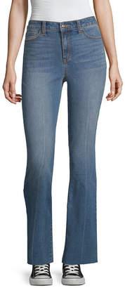 Black Daisy Juniors Womens High Waisted Regular Fit Bootcut Jean