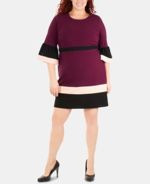 NY Collection Plus Size Bell-Sleeve Colorblocked Sheath Dress