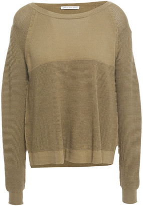 Cotton By Autumn Cashmere Waffle Knit-paneled Cotton Sweater