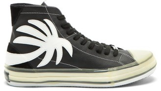 Palm Angels Palm Tree-patch Leather High-top Trainers - Black