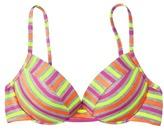 Xhilaration Juniors Neon Multicolored Stripe Push Up Swim Top
