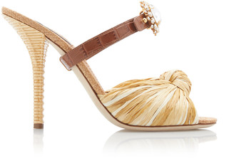 Dolce & Gabbana Crystal-Embellished Raffia And Leather Sandals