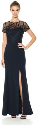 Adrianna Papell Women's Long Knit Crepe Dress with A Beaded Bodice and Short Sleeves