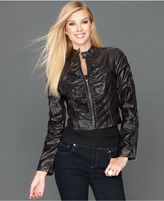 INC International Concepts Jacket, Stamped Faux-Leather Ruched Moto
