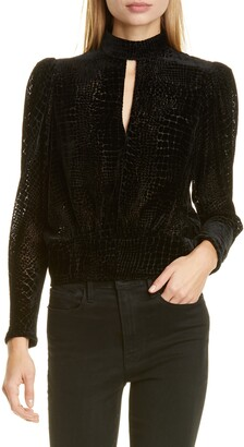 Frame Keyhole Velvet Party Top
