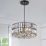House Of Hampton Louise 4 - Light Shaded Drum Pendant with Wrought Iron Accents House of Hampton