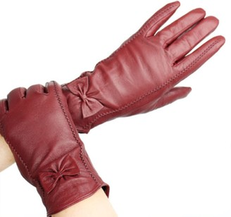 Mkeurope72 Ladies Soft Real Genuine Leather Lined Warm Bow 2 Stitches Winter Gloves Medium Size (comes with MK EUROPE packaging) (dark green)
