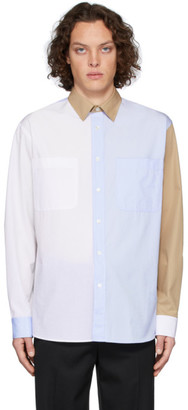 J.W.Anderson White and Blue Chest Pockets Shirt