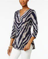 JM Collection Zip-Front Zebra-Print Tunic, Created for Macy's
