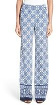 St. John Women's Kali Tile Print Stretch Silk Pants