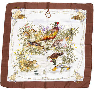 One Kings Lane Vintage Gucci Silk Bird Scarf - Vintage Lux - cream/brown