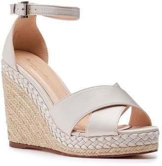 Paradox London Yolanda Champagne High Heel Ankle Strap Crossover Espadrilles