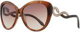 Roberto Cavalli Serpent-Temple Oversized Cat-Eye Sunglasses, Brown