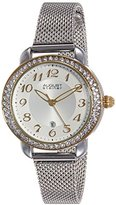 August Steiner Women's AS8192SSG Silver Crystal Accented Quartz Watch with White Dial and Silver Bracelet