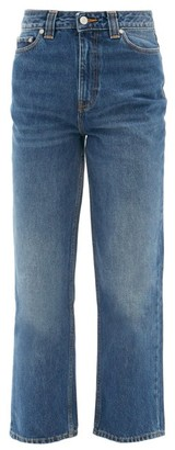 Ganni Cropped Organic-cotton Straight-leg Jeans - Denim