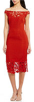 Kay Unger Off-The-Shoulder Lace Midi Dress