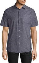Claiborne Short Sleeve Gingham Button-Front Shirt