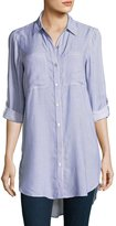 Neiman Marcus Striped Boyfriend Tunic, Blue/White