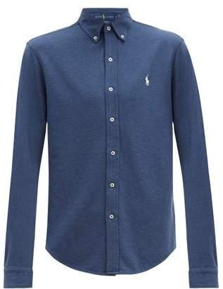 Polo Ralph Lauren Logo Embroidered Cotton Pique Button Down Shirt - Mens - Blue