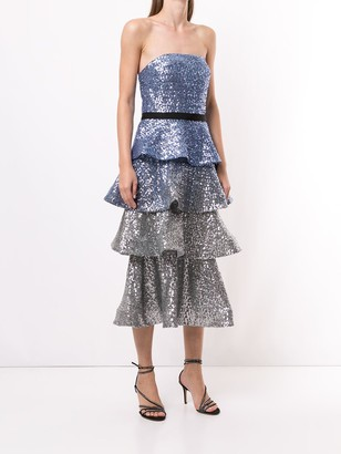 Marchesa Notte Sequined Tiered Dress