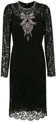 Dolce & Gabbana crystal embellished lace dress