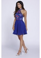 Nox Anabel - Embroidered Halter Chiffon Short Dress 6235