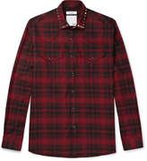 Valentino - Studded Checked Cotton And Wool-blend Flannel Western Shirt